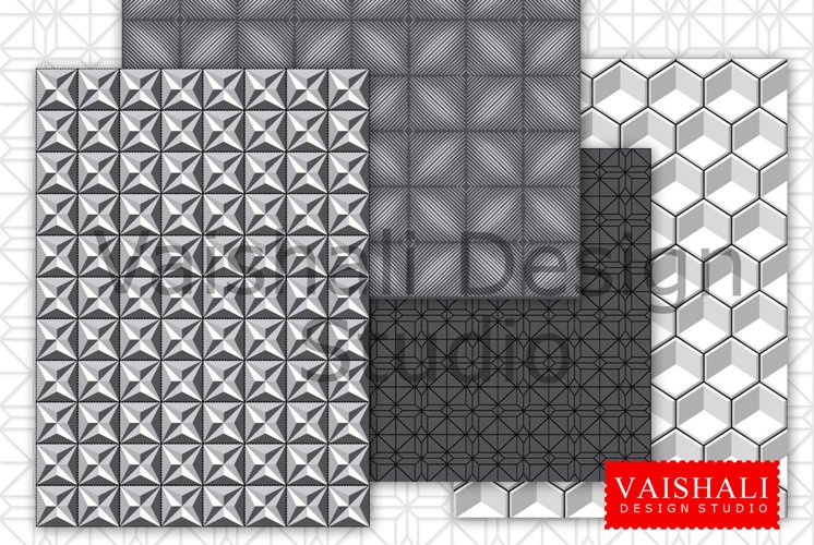 3D GEOMETRIC patterns, 4 coordinated prints, black and grey