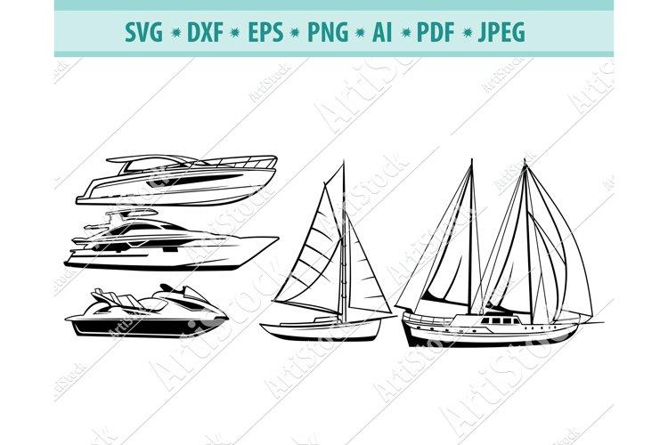 Ship SVG, Boat SVG, Sailing Ships Clipart Svg, Dxf, Png, Eps example image 1