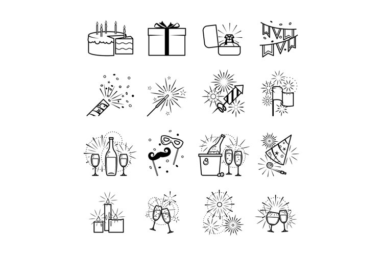 Vector black party icons example image 1