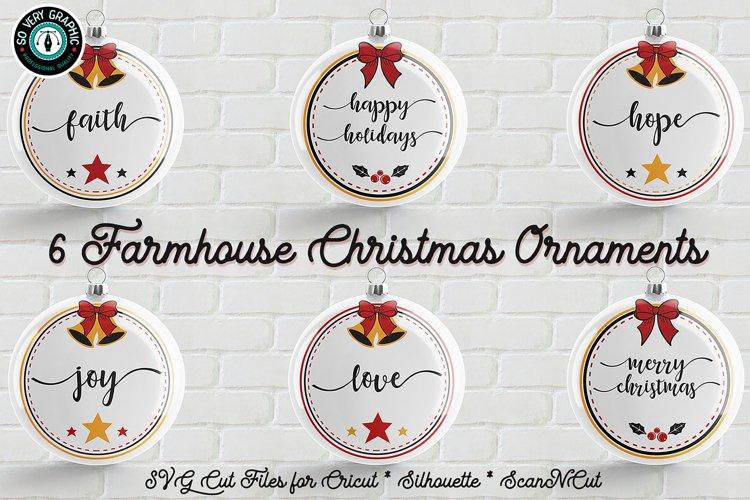 6 Farmhouse Christmas Ornaments SVG Cut File Bundle