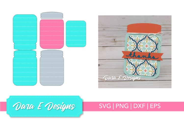 Mason Jar Card SVG | Card SVG | Card Making SVG example image 1