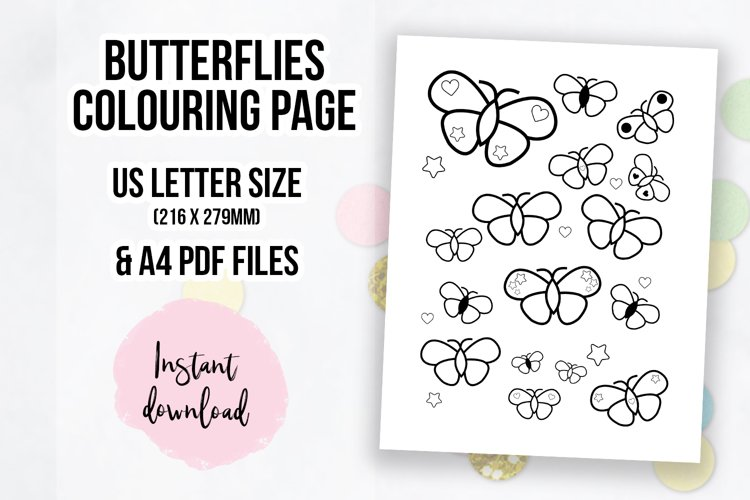 Cute Butterflies Coloring Page   Colouring Book Page