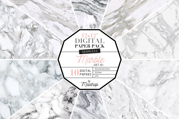 """Seamless Digital Paper """"Marble"""" Set 01 example image 1"""