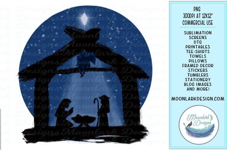 Simple Christmas Nativity Scene angel star Watercolor example image 1