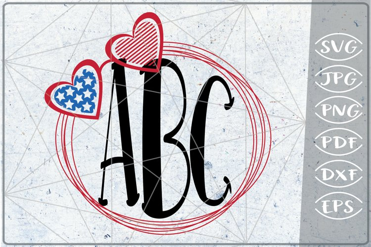 Monogram Heart SVG 4th of July Independence Day Crafters example image 1