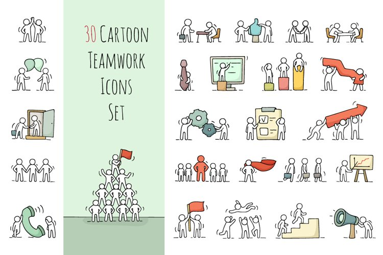 Cartoon teamwork icons set