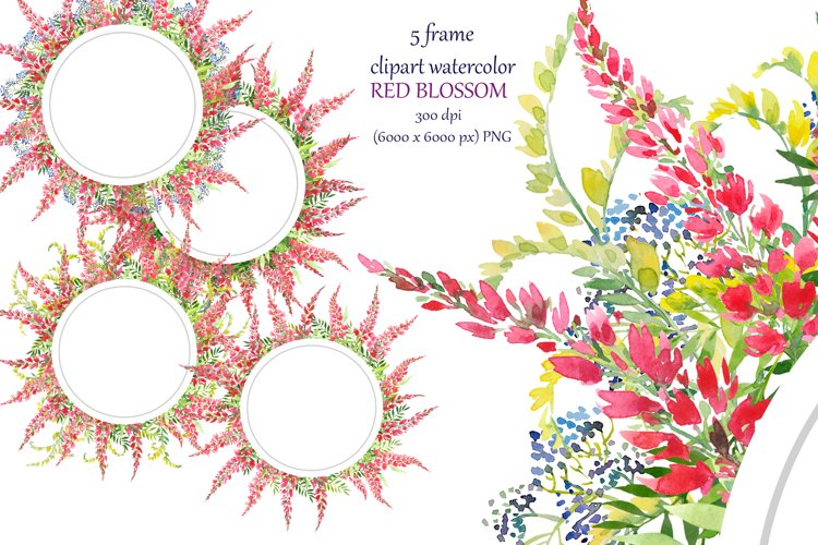 watercolor round frame, 5 wreath with red flowers example image 1