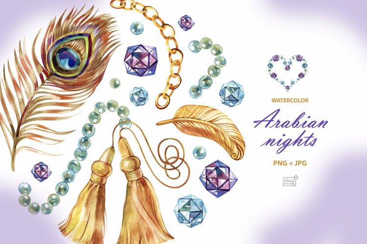 Watercolor Arabian nights cliparts example image 1