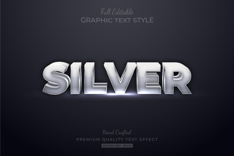 Silver Editable Custom Text Style Effect Premium example image 1