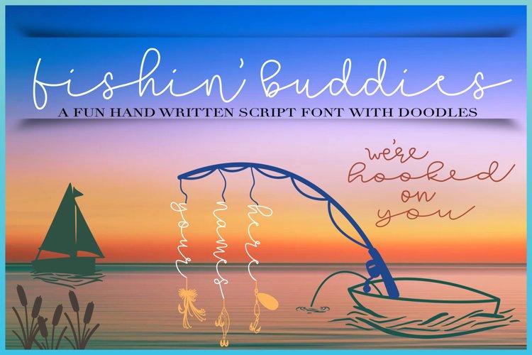 Fishin Buddies Hand Written Script Font PLUS Doodles