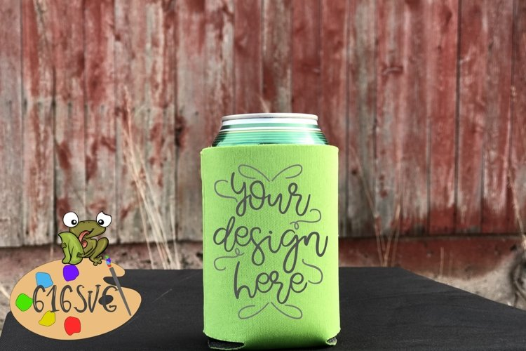 Neon Green Can Cooler Mockup