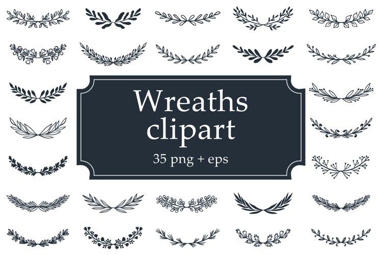 Hand Drawn Wreaths Clipart & BONUS