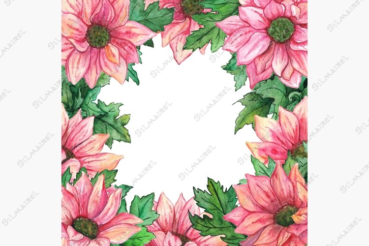 Watercolor pink chrysanthemum green leaf flower composition example image 1