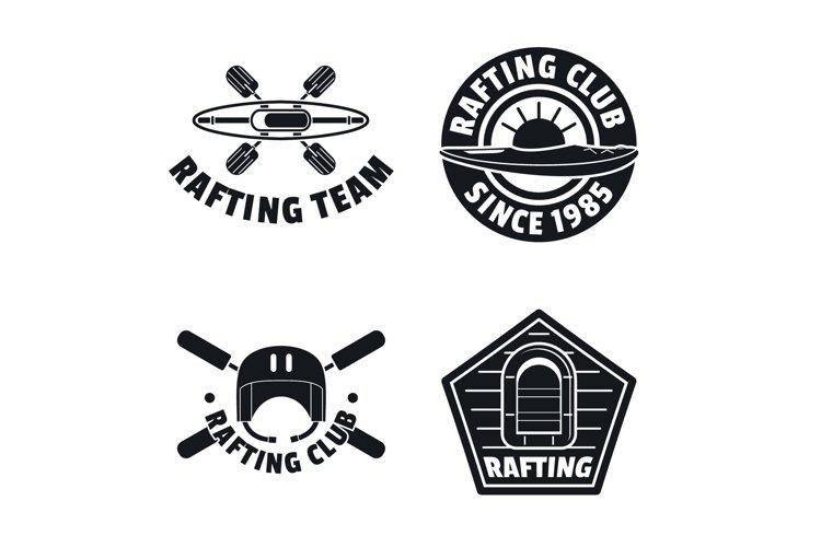 Rafting kayak canoe logo icons set, simple style example image 1