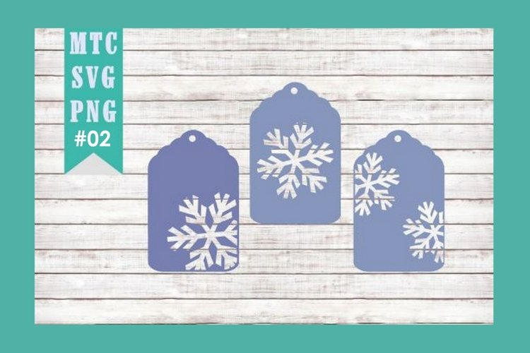 Winter Snowflake Gift Tag Embellishment Set #02 SVG Cut File