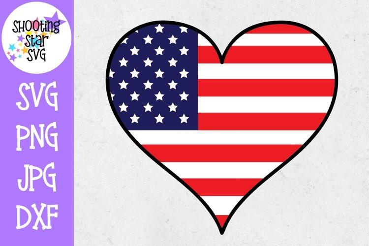 Heart with American Flag- Fourth of July SVG example image 1
