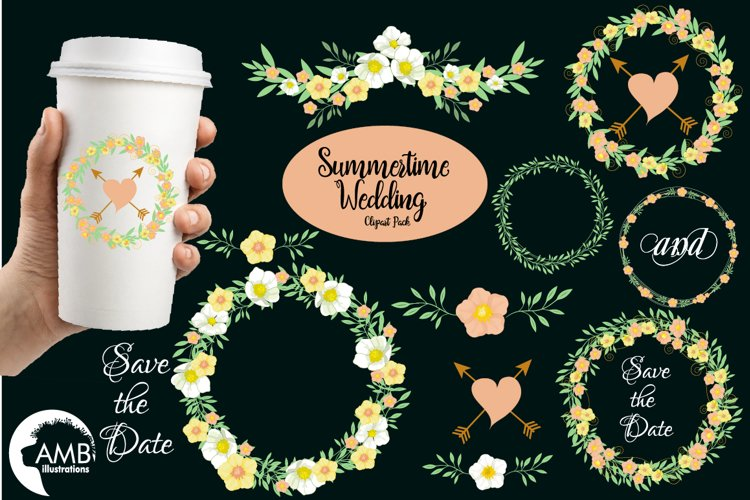 Summertime Wedding graphics, clipart, illustration AMB-1309 example image 1