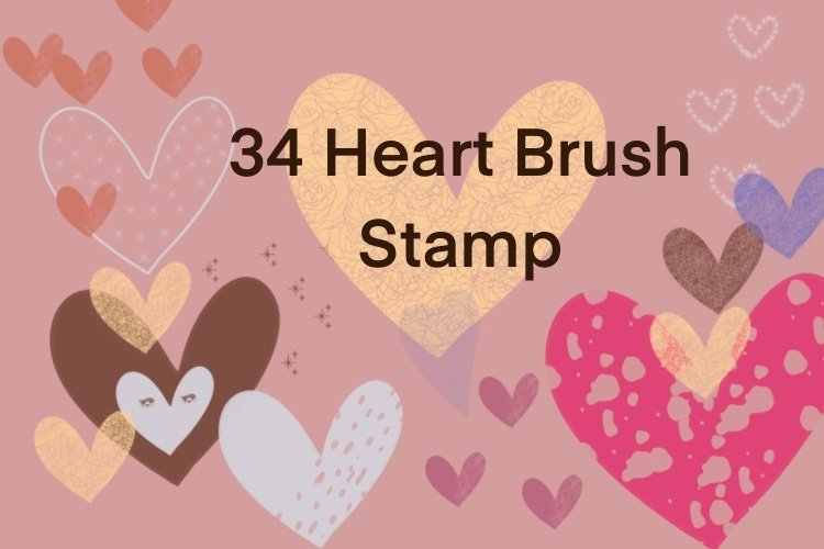 Procreate brushes heart shape stamp 34 stamp