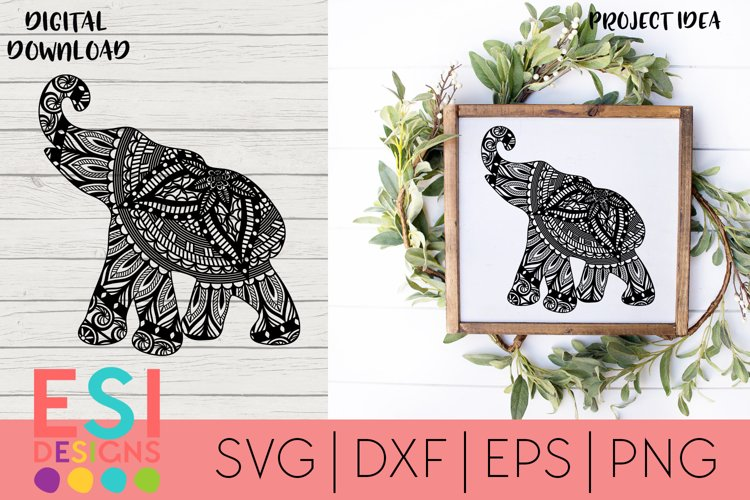 Mandala Elephant Zentangle SVG   SVG Cut files