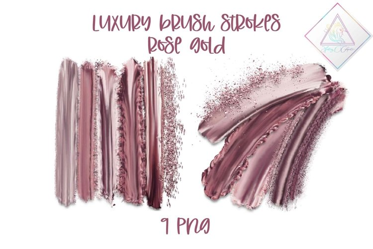 Luxury Rose Gold Brush Strokes Clipart example image 1