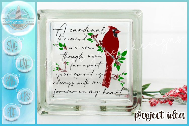 SVG Cardinal To Remind Me Quote Glass Block Design Christmas example image 1