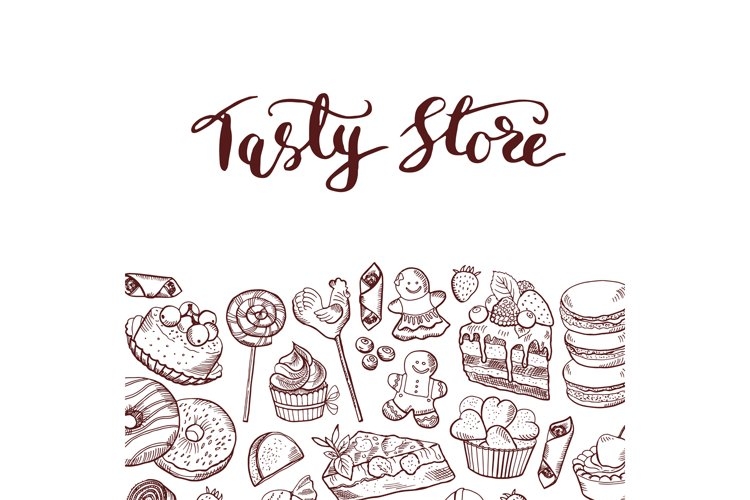 Vector hand drawn sweets shop or confectionary example image 1