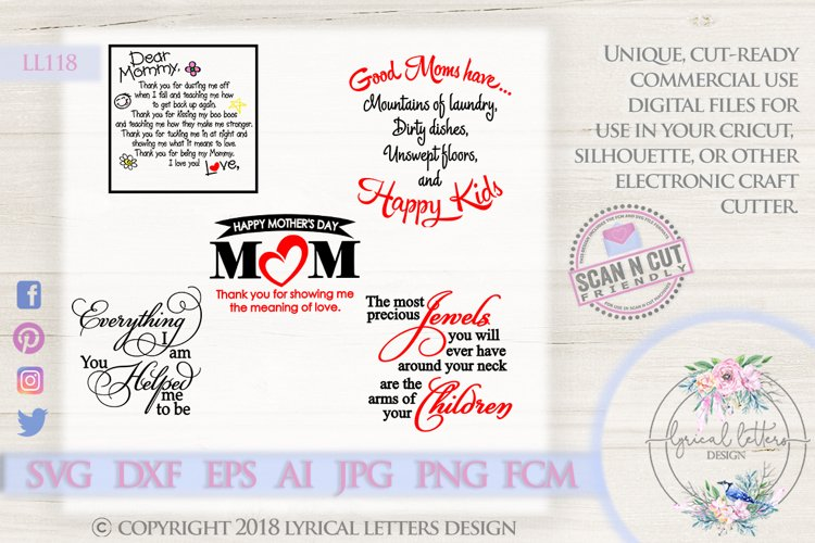 Mothers Day Mom Bundle of 5 SVG DXF FCM LL118