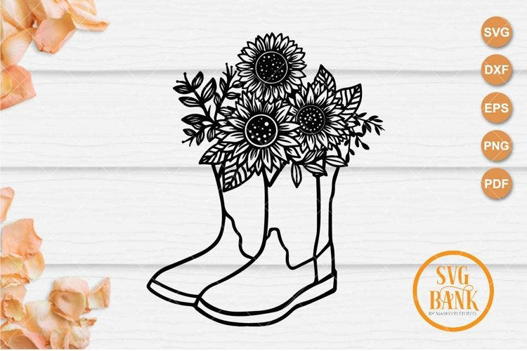 Cowboy Boots Sunflower SVG example image 1