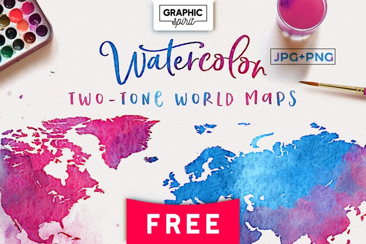Watercolor Maps - TWO-TONE PACK example image 1