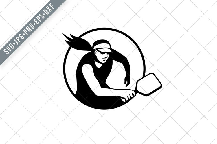 Female Pickleball Player with Paddle Circle Retro Black SVG example image 1