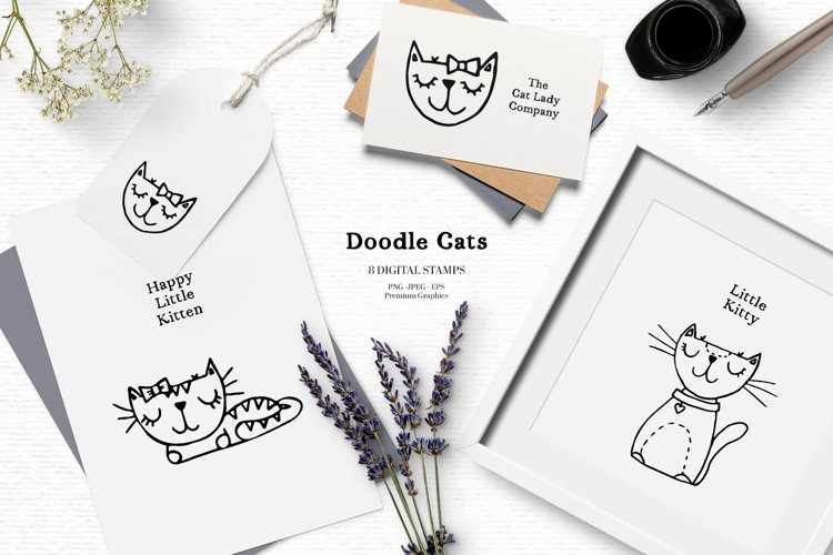Scandinavian doodle cat clipart | Cute cat digital stamps