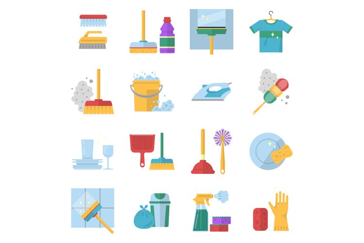 Cleaning service symbols. Different colored tools in cartoon example image 1