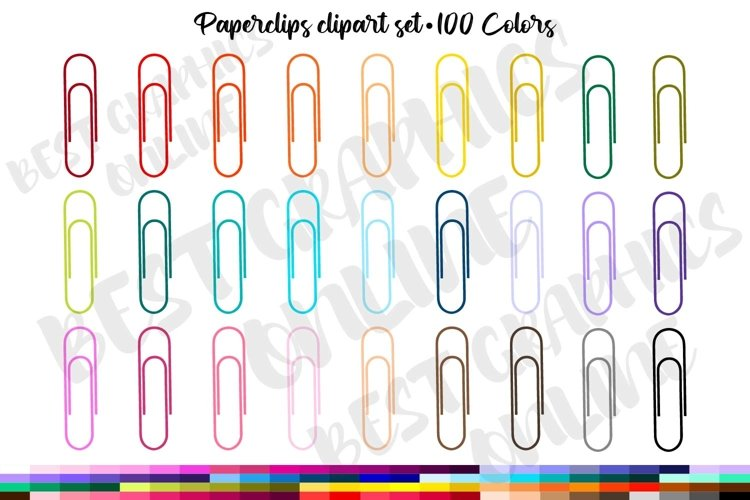 100 Paperclip Frame Clip art, Stationary Digital Graphics example image 1