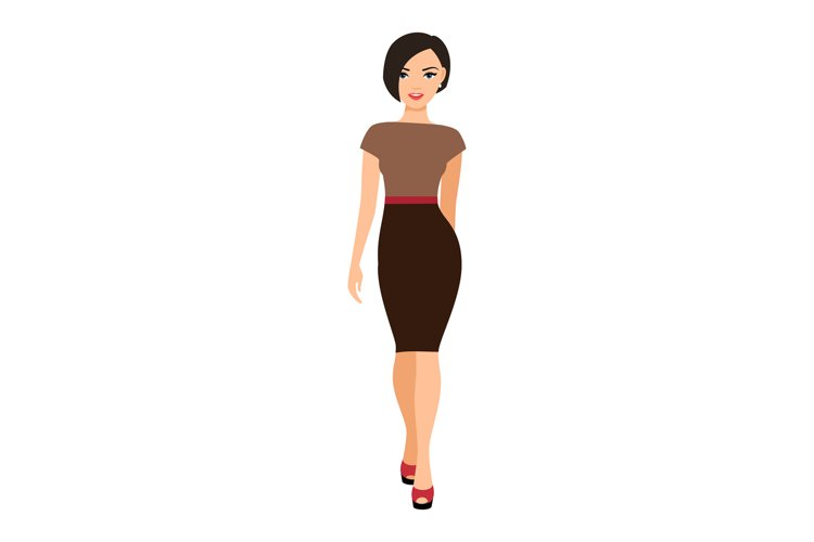 Girl in a brown dress example image 1