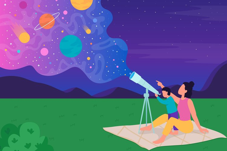Family stargazing with telescope color vector illustration example
