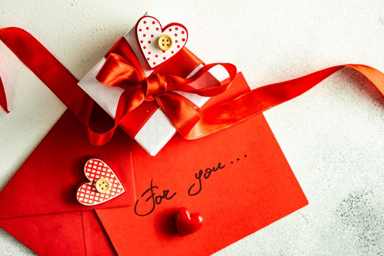 Valentine day holiday card concept with gift box example image 1