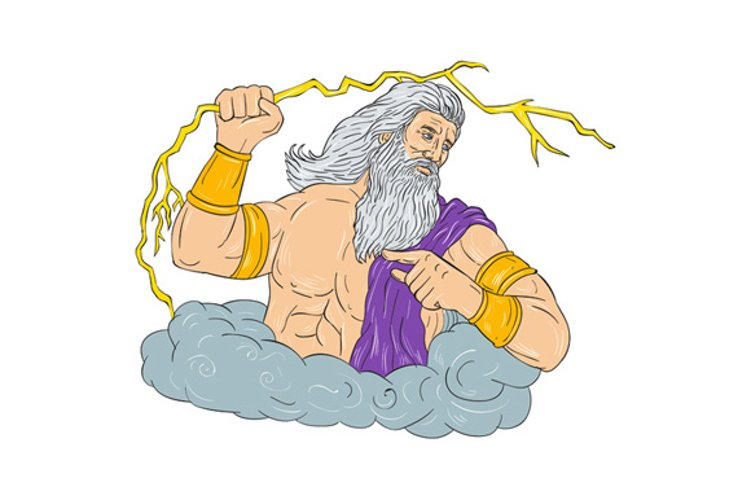 Zeus Wielding Thunderbolt Lightning Drawing example image 1