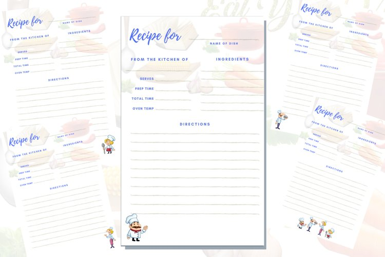 Recipes digital printable pages example image 1