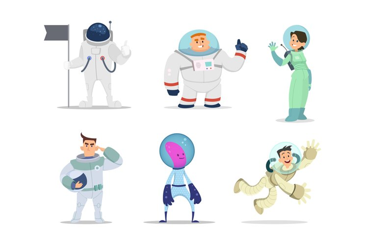 Male and female astronauts. Cartoon characters in action pos example image 1