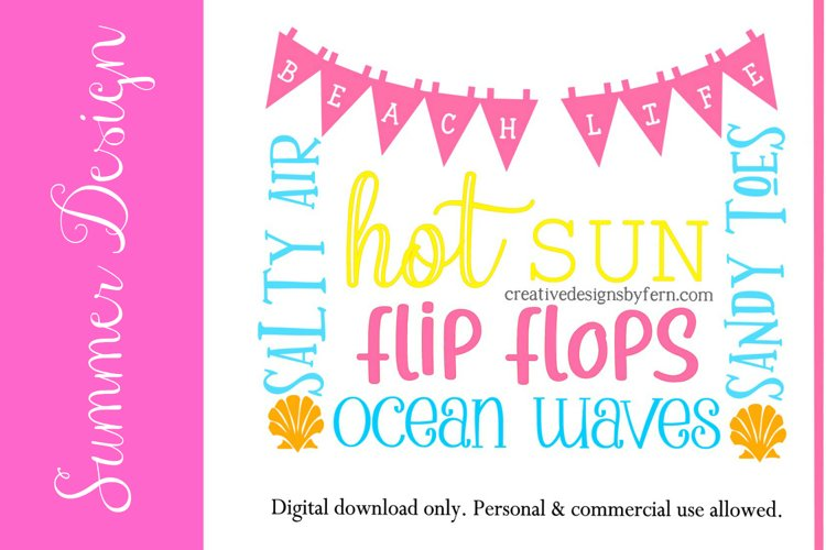Summer word art SVG FILE example image 1