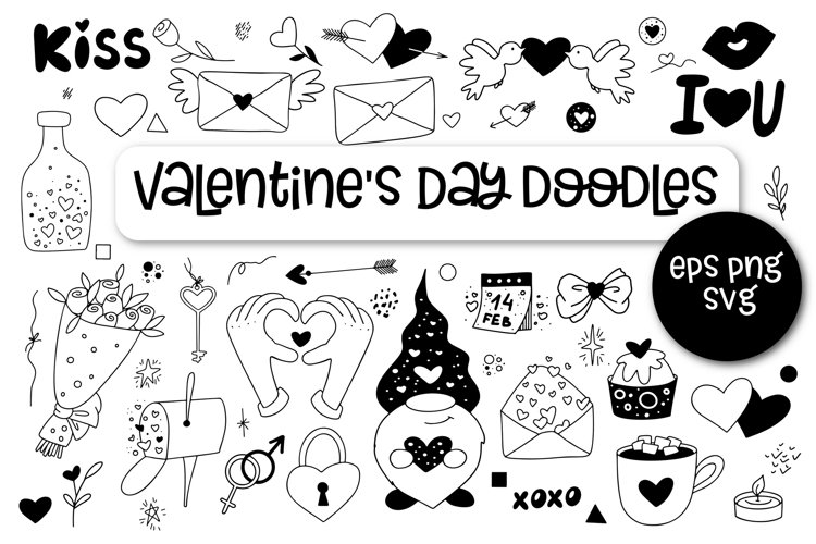 Valentines Day Doodles Vector Clipart SVG example image 1