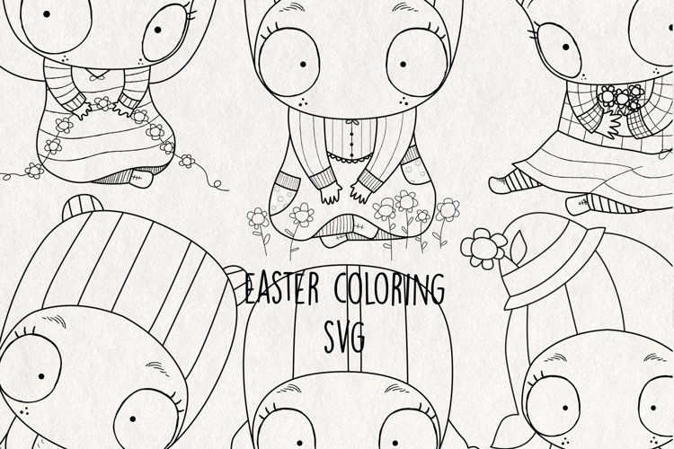 Easter Coloring SVG. Clipart Black and White example image 1