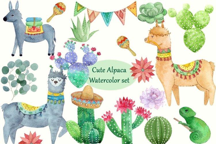 Cute Alpaca Watercolor Set