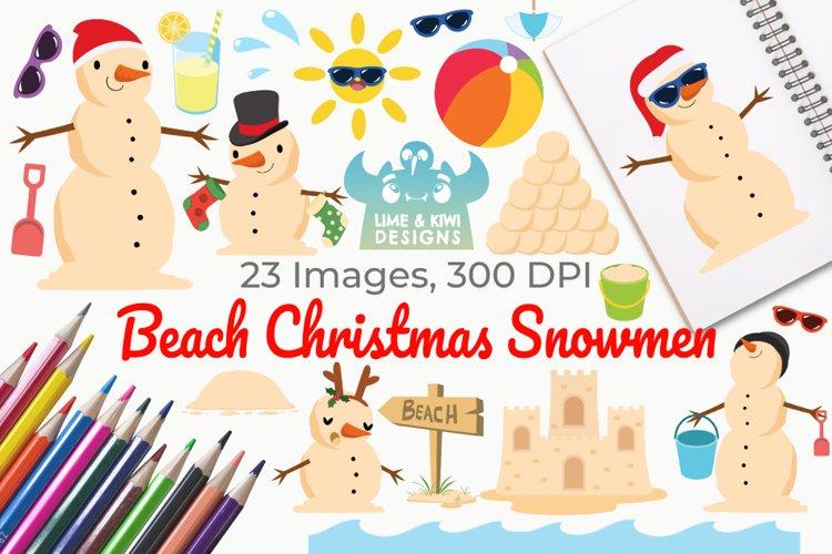 Beach Christmas Snowmen Clipart, Instant Download Vector Art