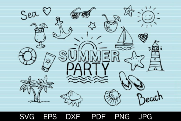 Summerparty SVG DXF EPS PDF PNG JPG example image 1