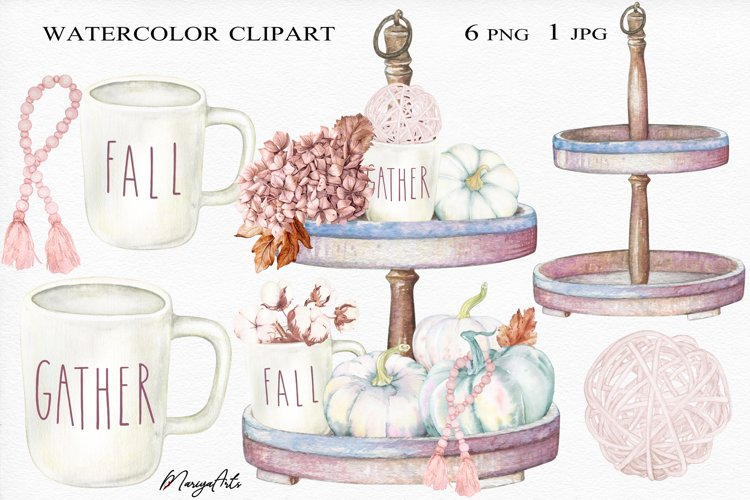 Rustic Wooden Two Tiered Tray, Pumpkin Watercolor Clipart example image 1