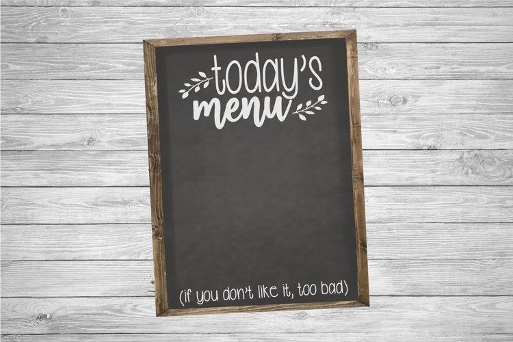Today's Menu | Kitchen | Kitchen SVG Cut File example