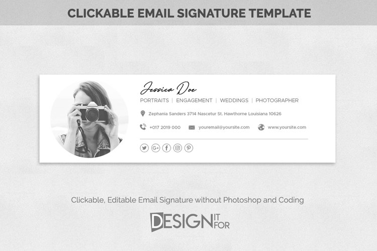 Email Signature Template Clickable Editable, Gmail Outlook example image 1