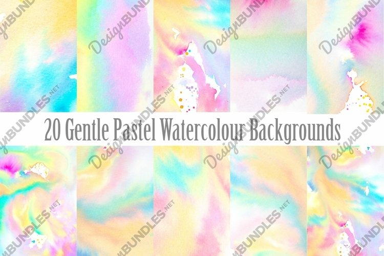 20 Pastel Watercolour Abstract Paint Backgrounds example image 1