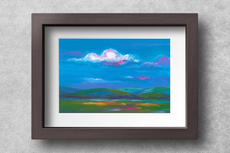 Landscape illustration, Twilight Meadow - Printable Wall Art
